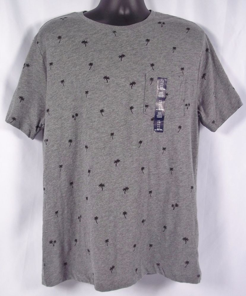 GAP Men's Lived In Crew Neck T-Shirt Grey Palm Tree Or Blue Pineapple Print NWT