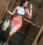 dress,bodycon dress,midi dress,mini dress,tight,peach,blue,multicolor,pattern,patterned dress,tribal pattern,summer dress,cute dress,chic,fashion,style