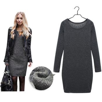 Women Winter Dress Black Grey Long Sleeve Dress Plus Size XXL ...