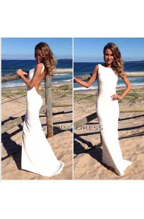 Mermaid/trumpet scoop floor length satin white evening dress with ruffles npd098001 sale at shopindress.com