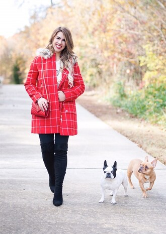 herestheskinny blogger jacket sweater leggings shoes bag jewels make-up red coat winter outfits red bag ysl bag boots thigh high boots
