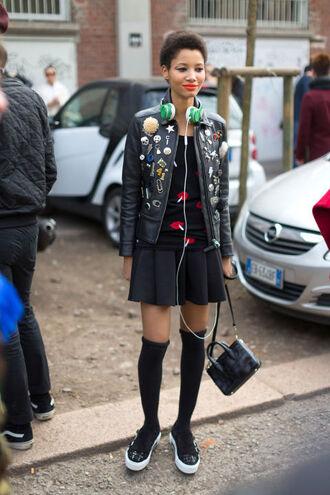 jacket skirt sweater top socks sneakers streetstyle milan fashion week 2016 fashion week 2016 biker jacket spring outfits headphones