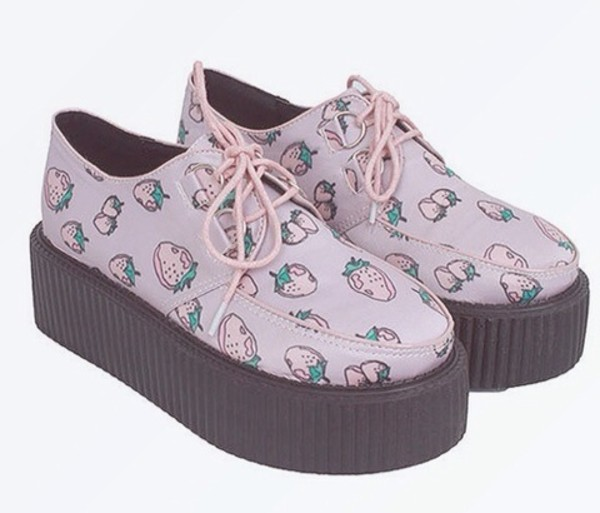 shoes creepers strawberry platform shoes platform shoes creepy kawaii purple shoes kawaii grunge shoes pink