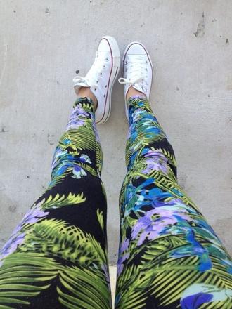 jeans floral jeans tropical print tropical print leggings floral pants tropical pants leaf jeans cute jeans boho pants