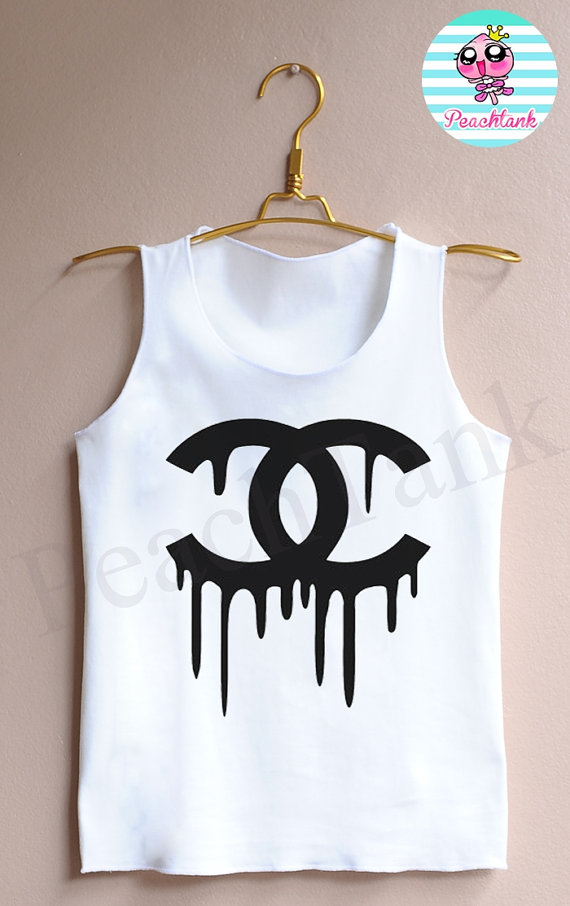 Women's white double c's dripping  tank top  tank  by peachtank