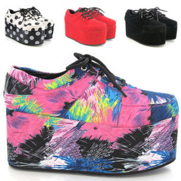 NEW WOMENS HIGH PLATFORM RETRO WEDGE FLATFORM CREEPERS GOTH PUNK SHOES SIZE 3-8 on Wanelo