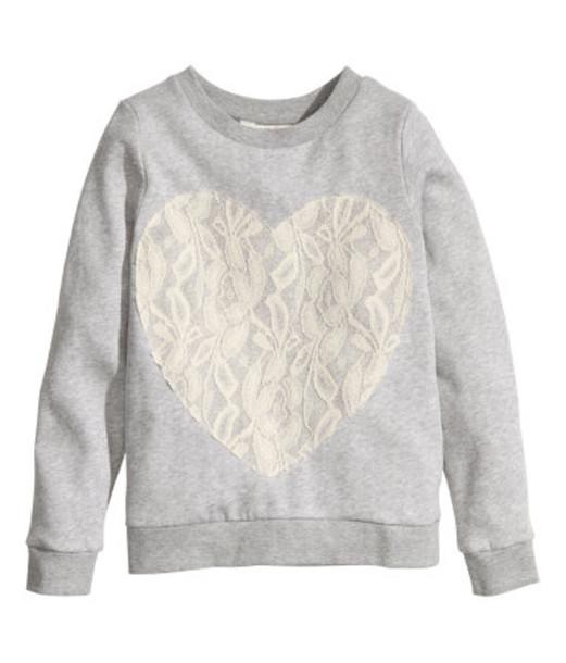 sweater grey girl juniors heart shirt jumper