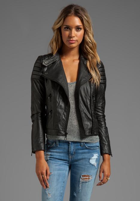 Images of Black Leather Moto Jacket - Reikian