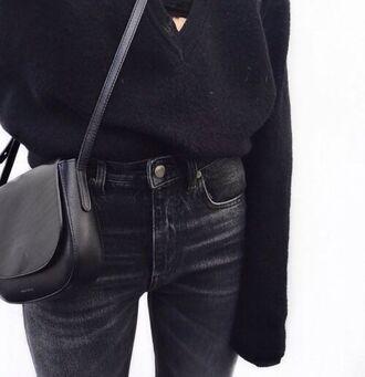 jeans black jeans all black everything black leather bag shoulder bag crossbody bag v neck oversized sweater fine knit jumper