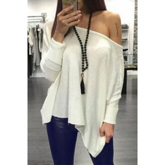 top white fashion long sleeves off the shoulder casual trendy fall outfits asymmetrical rose wholesale-jan