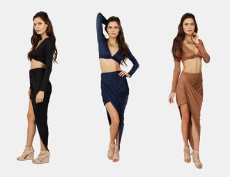 skirt nude navy two-piece long sleeve crop top asymmetrical asymmetrical skirt sexy wedges clubwear