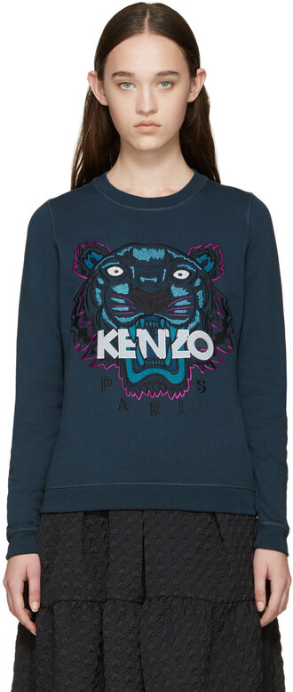 sweatshirt embroidered tiger blue sweater