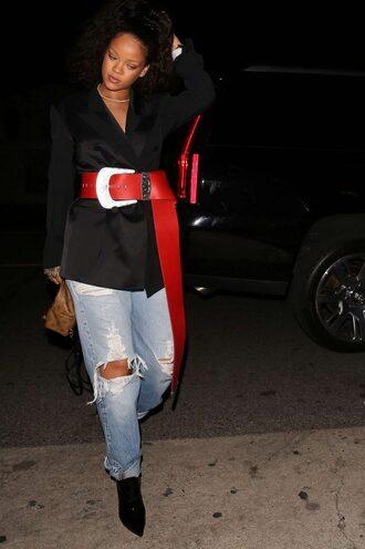jacket belt jeans rihanna ripped jeans oversized fall outfits blazer