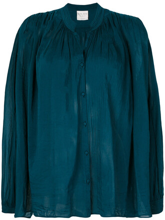 blouse women cotton blue silk top