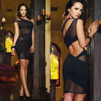 dress provocative dress black dress mini dress mini black dress transparent transparent dress black transparent dress sexy sexy dress provocative black mini open back open back dresses one shoulder one shoulder dress