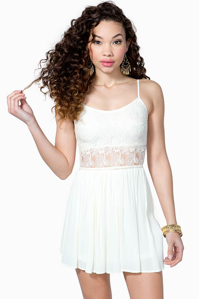 A'GACI Lacey Cut Out Flare Dress - DRESSES