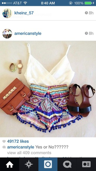 tank top bag summer outfits style pattern pattern shorts summer shorts beach beautiful