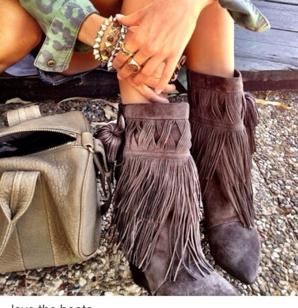 shoes boots fringes