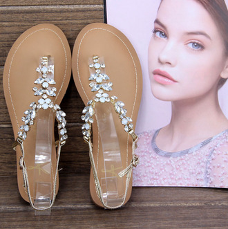 shoes flat sandals diamonds white diamonds