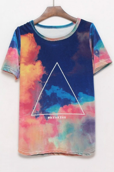 Triangle print galaxy t shirt for Galaxy white t shirts wholesale