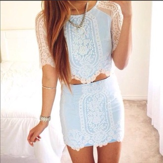 blouse lace top blue shirt skirt