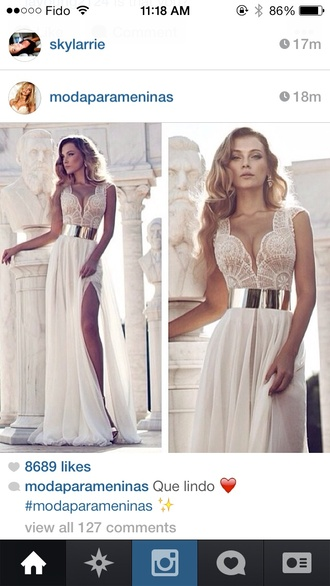 dress prom dress where can i get this dress? with lace top gold belt long and white forma dress white dress lace long dress
