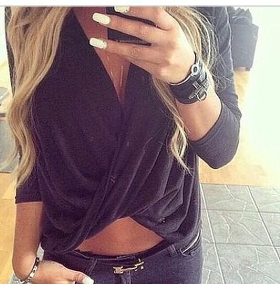 deep v neck blouse
