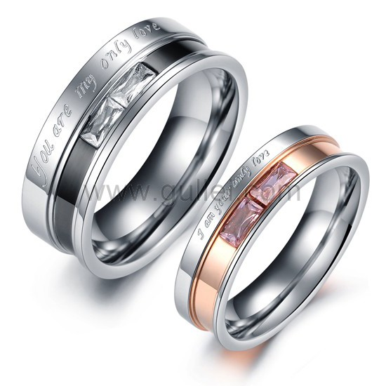 fe10fe8545 Engraved His and Hers Titanium Promise Rings for Couples Set of 2 Personalized  Couples Gifts ...
