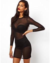 ASOS | Black Mesh Mini Sheath Dress | Lyst