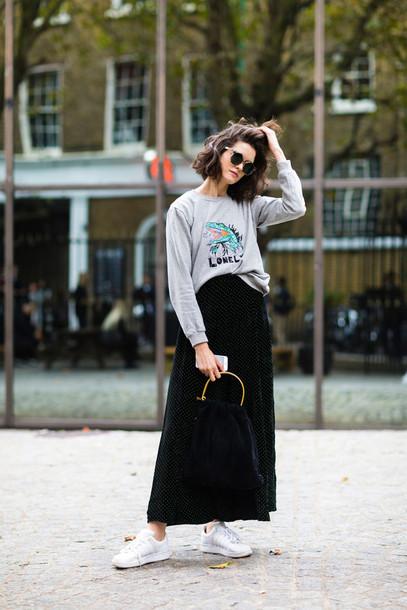 bag fashion week street style fashion week 2016 fashion week maxi skirt black skirt skirt sweatshirt grey sweater blue bag sneakers white sneakers streetstyle fall outfits sunglasses