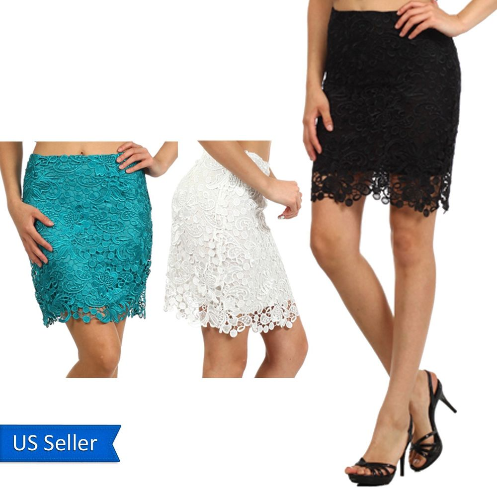 Cute Crochet Poly Mini Short Length Black Teal Floral Scallop Hem Pencil Skirt