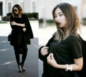 different cands,blogger,coat,all black everything,black coat,top,skirt,shoes,jewels,tights