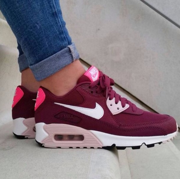 more photos 1c3da 90da9 shoes maroon burgundy nike air max women burgundy sneakers nike sneakers  nike air max 90