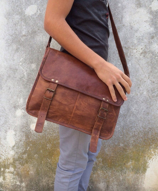 Bag: leather bag, tan leather bag, messenger bag, leather ...