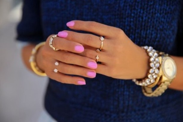jewels ring gold gold ring watch nail polish pink bracalet