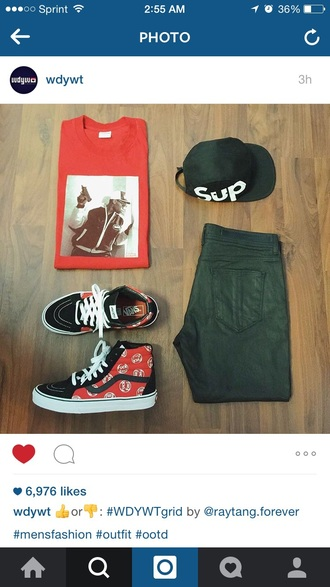 hat supreme fall outfits fall sweater vans outfit tumblr tumblr outfit ootd fashion supreme hat dope style t-shirt shoes sk8-hi