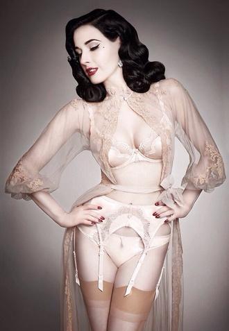 jacket bridal lingerie underwear bra vintage dita von teese suspenders stockings lingerie