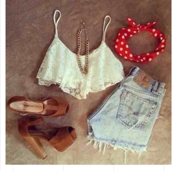 shorts high waisted denim shorts blouse shoes tank top hat jewels
