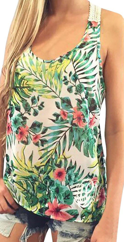 Ybenlow Women's Tropical Print Racer Back Shirt Tank Top at Amazon Women's Clothing store: