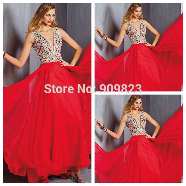 Aliexpress.com : Buy New Red Dress Sexy Deep V Neck Crystal Natural Waist Floor Length A Line Chiffon Long Evening Dresses Gowns 2014 Vestidos Longos from Reliable dress sara suppliers on my classic garden | Alibaba Group