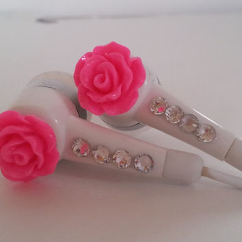 Petite Hot Pink Rose Earbuds with Swarovski  crystals on Wanelo