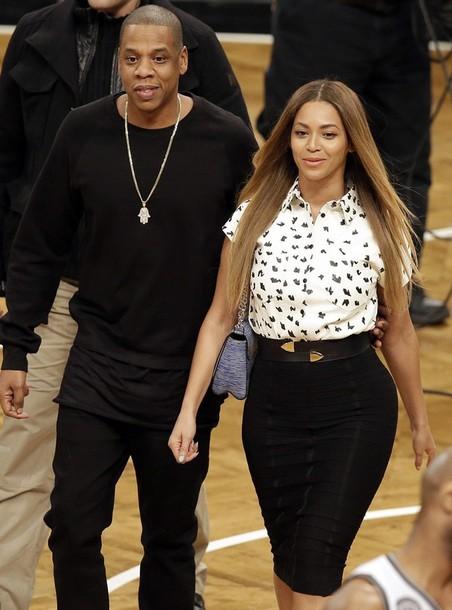 Beyonce Blouse Pencil Skirt Hairstyles Curvy Jay Z Belt Skirt