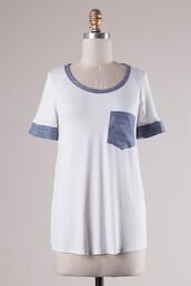 top,white,chambray,pocket t-shirt,pockets,t-shirt