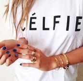 t-shirt,celfie tee,celfie,top,ici fashion,summer top,white t-shirt,icifashion,jewels