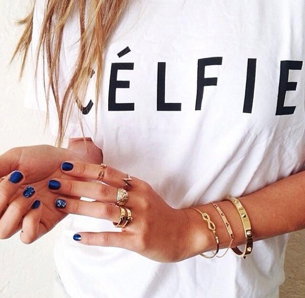 t-shirt celfie tee celfie top ici fashion summer top white t-shirt icifashion jewels