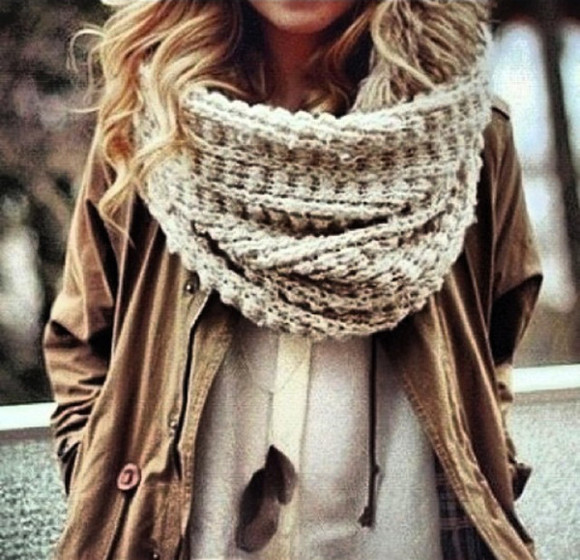 beige kaki jewels clothes shirt blouse jacket kaki jacket kaki coat scarf size plus scarf winter scarfs trends women scarfs creme white blouse feathers feather necklace feather necklace winter