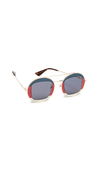 Gucci Urban Round Sunglasses in navy / gold / red