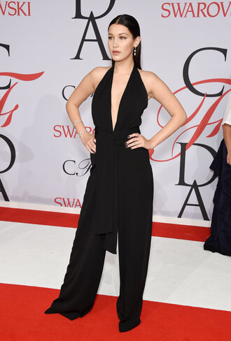 jumpsuit cfda 2015 black all black everything bella hadid plunge v neck