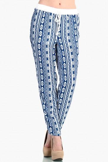 LoveMelrose.com From Harry & Molly   Indian Print Slim Pants - Blue