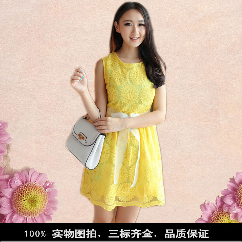 Dowisi women's neon color o neck lace crochet vest one piece dress sleeveless-inDresses from Apparel & Accessories on Aliexpress.com